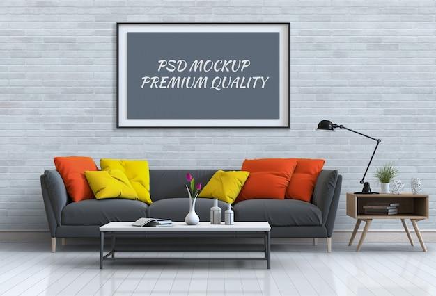 インテリアリビングルームとソファのポスターフレームのモックアップします。 Premium Psd