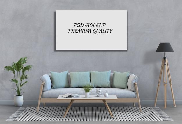 인테리어 거실과 소파에 포스터 프레임을 조롱 프리미엄 PSD 파일