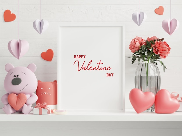 バレンタインルームのポスターフレーム、空の白い壁の背景にポスター、3dレンダリングをモックアップ Premium Psd