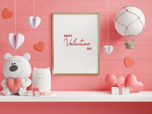 Макет рамки плаката в комнате валентина, плакаты на фоне пустой белой стены, 3d-рендеринг Premium Psd