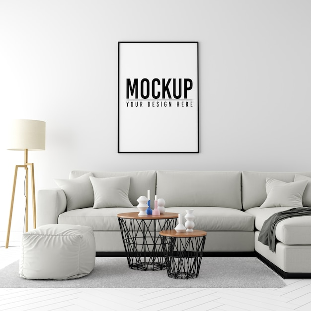 Mock up poster frame interior background with furniture and decoration Premium Psd