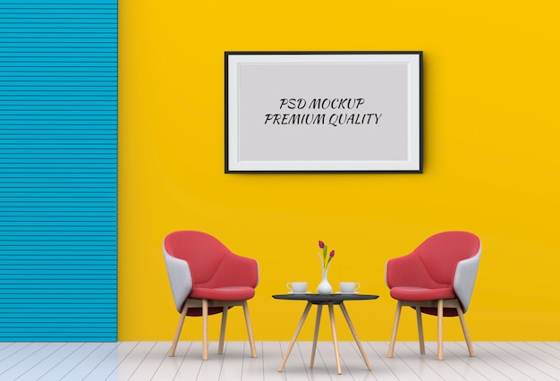 Mock up poster frame in interior living room and chair, 3d render Premium Psd