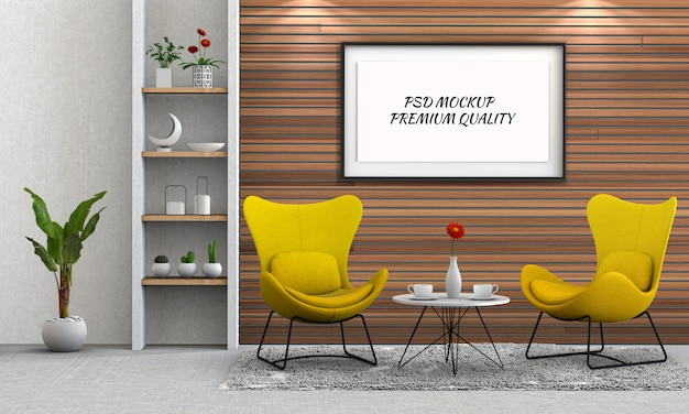 Mock up poster frame in interior living room and chair Premium Psd