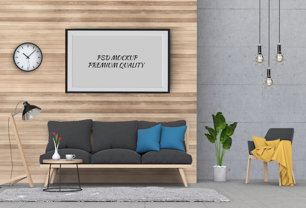 Mock up poster frame in interior living room and sofa, 3d render Premium Psd