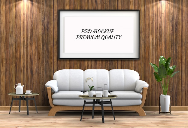 Mock up poster frame in interior living room and sofa Premium Psd