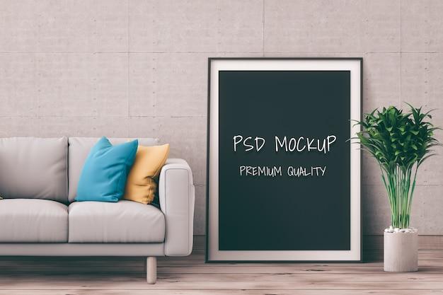 Mock up poster frame in interior room , 3d render Premium Psd
