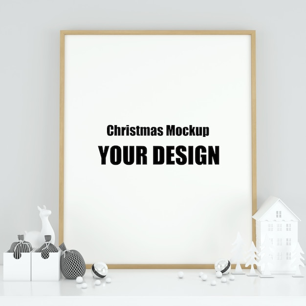 Mock up poster frame in interior scandinavian christmas and winter decoration Premium Psd