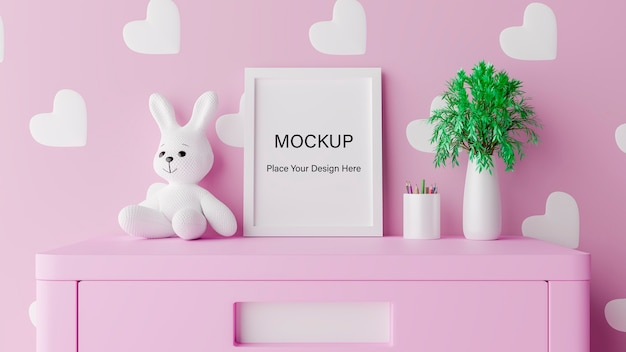 Mock up poster frame with cute rabbit for a girl baby shower 3d rendering Premium Psd