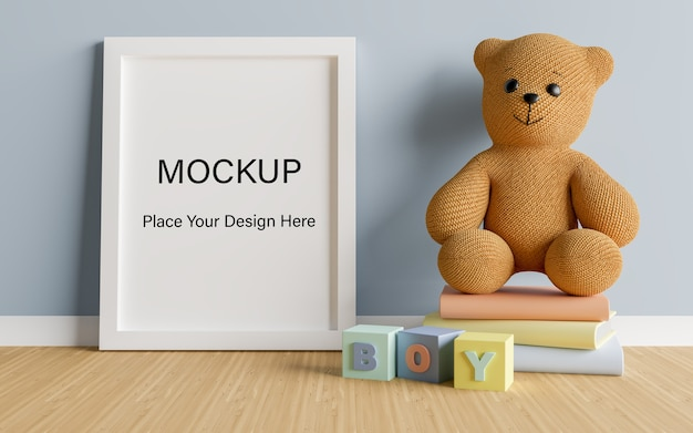 Mock up poster frame with cute teddy bear for a boy baby shower 3d rendering Premium Psd