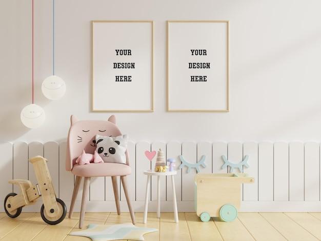 子供部屋のポスターフレームをモックアップ 無料 Psd