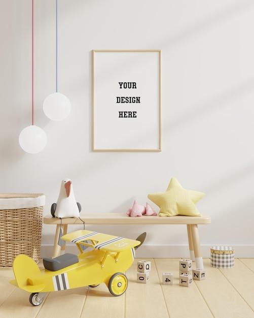 白い壁の子供部屋のポスターをモックアップ Premium Psd