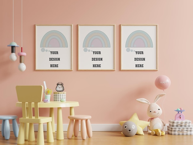 Mock up posters in child room interior, posters on empty pink color wall background,3d rendering Free Psd