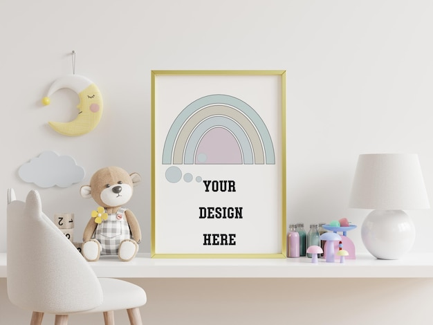 Mock up posters in child room interior, posters on empty white wall background,3d rendering Free Psd