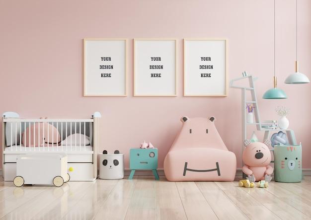子供部屋のインテリアにポスターをモックアップ Premium Psd