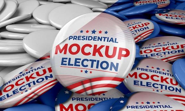アメリカ合衆国のモックアップ大統領選挙の記章 無料 Psd
