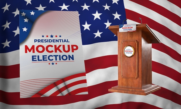 Podio e poster delle elezioni presidenziali di mock-up per gli stati uniti Psd Gratuite