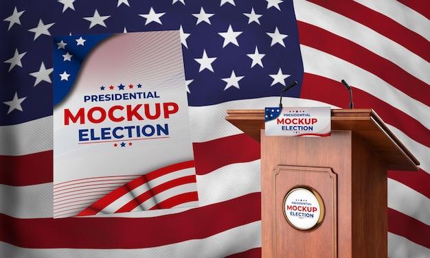 Podio delle elezioni presidenziali di mock-up per gli stati uniti con bandiera e poster Psd Gratuite