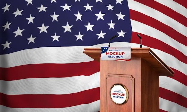 Podio delle elezioni presidenziali di mock-up per gli stati uniti con bandiera Psd Gratuite