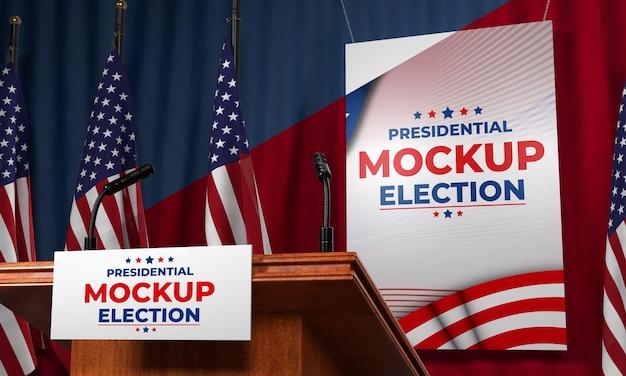 Podio delle elezioni presidenziali di mock-up per gli stati uniti Psd Gratuite