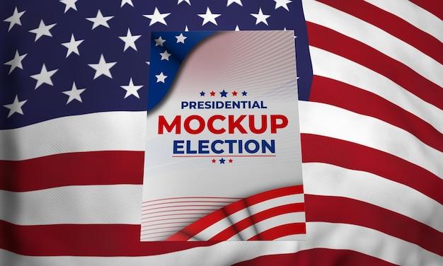 Manifesto delle elezioni presidenziali di mock-up per gli stati uniti con bandiera Psd Gratuite