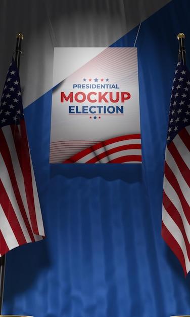 Manifesto delle elezioni presidenziali di mock-up per gli stati uniti con le bandiere Psd Gratuite