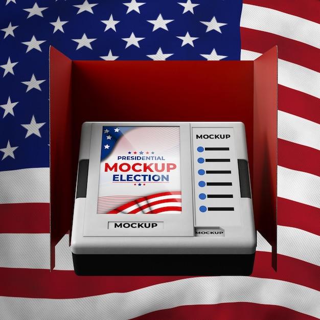 미국을위한 모형 대통령 선거 투표소 프리미엄 PSD 파일