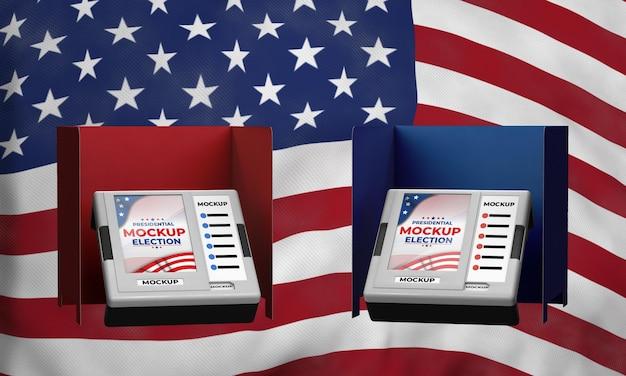 미국의 모형 대통령 선거 투표소 프리미엄 PSD 파일