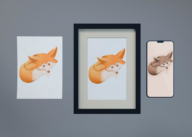 Mock-up and sheet with fox draw Free Psd