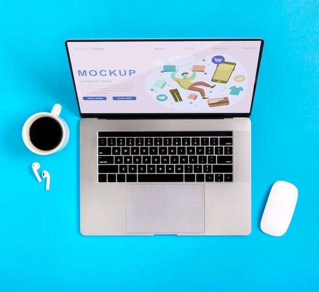Mock-up shoppings device with coffee Free Psd