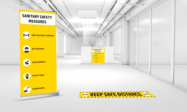 Mock-up of signage to inform of the sanitary security measures Premium Psd