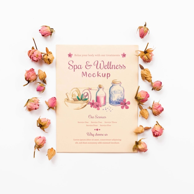 Mock-up spa and wellness surrounded by roses Free Psd