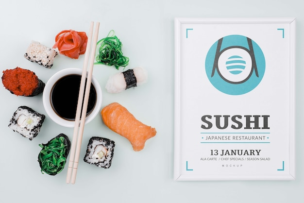 Mock-up sushi rolls with soya sauce and frame Free Psd