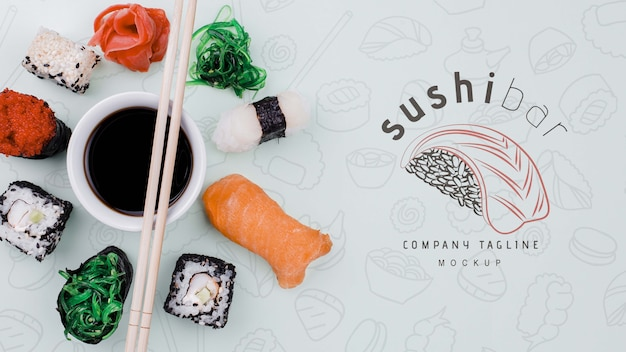 Mock-up sushi rolls with soya sauce Free Psd