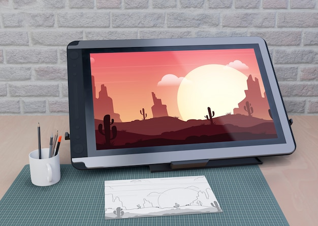Mock-up tablet drawing on table Free Psd