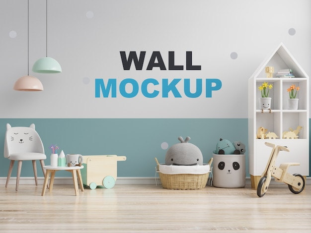 Mock up wall in the children's room in white on blue wall. 3d rendering Premium Psd