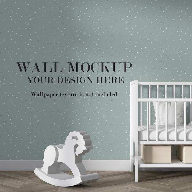 Макет стены в интерьере детской комнаты с минималистской мебелью Premium Psd