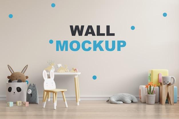 Макет стены в детской комнате 3d рендеринга Бесплатные Psd