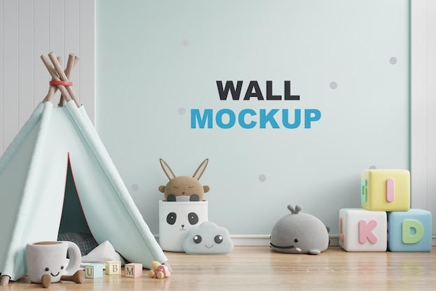 子供部屋の3 dレンダリングで壁のモックアップ Premium Psd