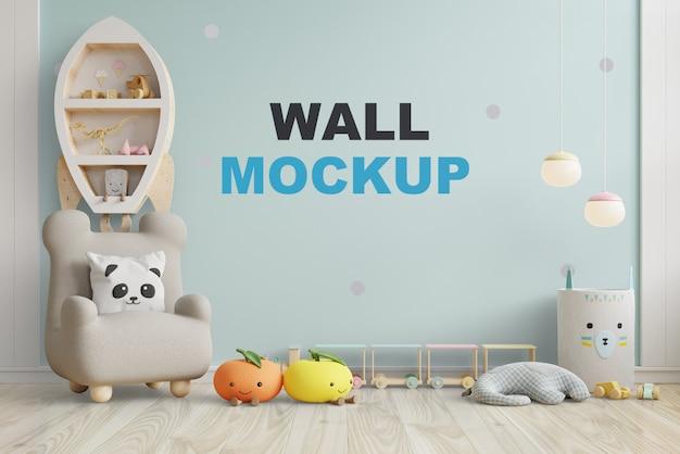 子供部屋の壁を青い色の壁でモックアップします。3dレンダリング Premium Psd