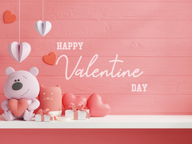 Mock up wall per il giorno di san valentino Psd Gratuite