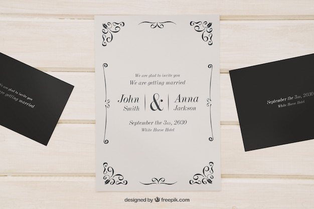 Mock up for wedding invitations Free Psd