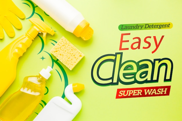 Mock-up with antibacterial products Free Psd