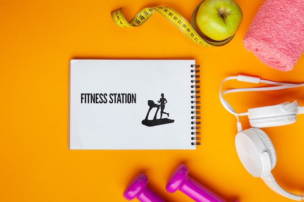 Mock-up with fitness class equipment Free Psd