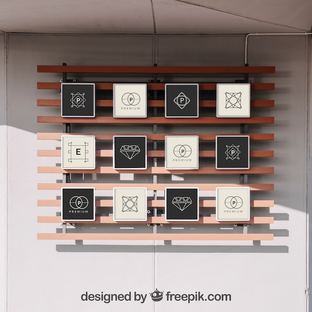 Mockup Of 12 Frames On Wall Psd File Free Download