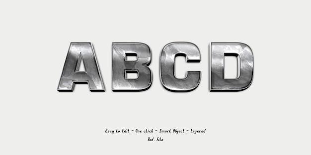 Mockup 3d effect font alphabet with silver texture Premium Psd