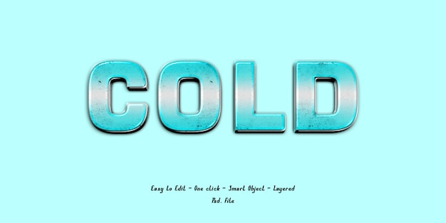 Mockup 3d effect font blue ice Premium Psd