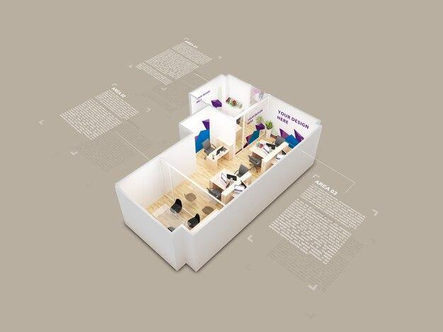 Mockup 3d House Model Top View Psd File Premium Download