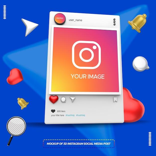 Mockup of 3d instagram social media post Premium Psd