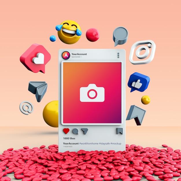 Mockup of 3d instagram social media post