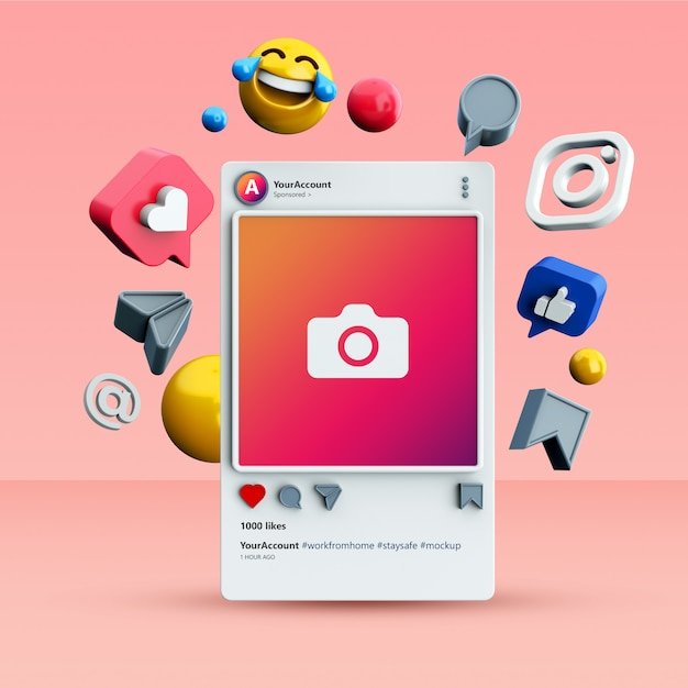 Mockup of 3d instagram social media post Premium Psd